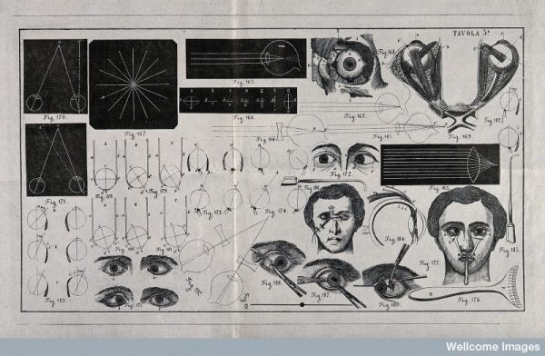 A sheet showing optical instruments, eye examinations, diagr Credit: Wellcome Library, London. Wellcome Images images@wellcome.ac.uk http://wellcomeimages.org A sheet showing optical instruments, eye examinations, diagrams to show the effect of lenses and diagrams of the eye with a numbered key. Wood engraving. Wellcome Library, London: Copyrighted work available under Creative Commons Attribution only licence CC BY 4.0